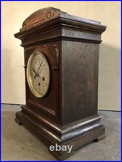 Junghans Westminster Chime Deco Arts & Crafts Mantel Bracket Table Clock Oak