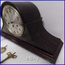 Junghans Wuerttemburg Westminster Chime German Tambour Mantle Clock A42 with key