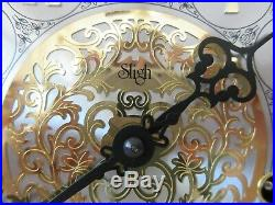 LARGE 20 x 12 Sligh Mantle Clock TRIPLE CHIME Westminster Wood Inlay WORKS