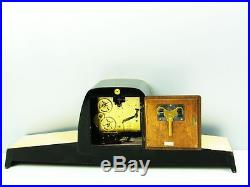 LATER ART DECO BLACK WESTMINSTER CHIMING MANTEL CLOCK from ZENTRA HERMLE