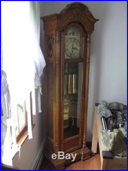 Large 82 inch Oak Grandfather Clock SLIGH Westminster Chimes + 2 others silent
