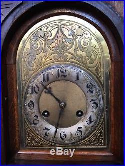 Large Antique Junghans German Bracket Clock Quarter Hour Chime 8 Day Westminster