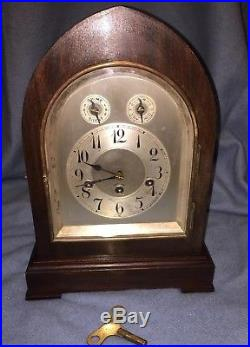 Large Antique Junghans Germany Mantle Clock Working with Westminster Chimes