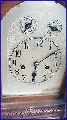 Large Antique Oak 3 Train 5 Rods Musical Westminster Chime Junghan Bracket Clock