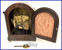 Large Antique Oak 3 Train Musical Westminster Chime Bracket Clock Chime Silent