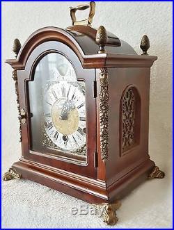 Large Dutch Warmink Westminster Chime Dutch Shelf Bracket Clock Moon Burl Wood