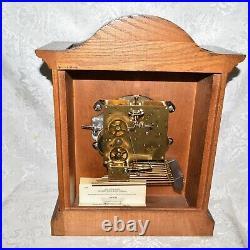 Large Howard Miller Triple Chime / Westminster Chime Oak Mantel Clock. Serviced
