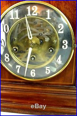 Large Junghans Mantle Clock Visible Works (W200) Westminster Chimes with Key