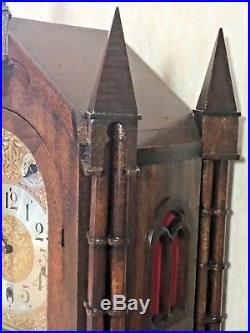 Large, Mahogany Gothic Bracket Clock, 1918 Waterbury Westminster Chime Movement