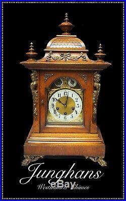 Large Walnut Junghans Westminster Chime Bracket Clock 60cm High