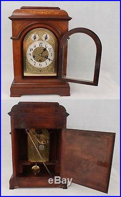 Large Working Antique Junghans Westminster Chime Mantel Clock with Bracket & Key