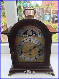 Magnificent Cherry Wood Moon Phase Hermle Westminster Chime Bracket Clock