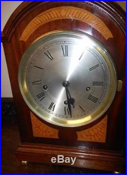 Mahogany inlaid westminster chimes bracket clock on 5 coil gongs