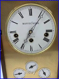 Mappin & Webb Westminster Chime Burled Wood Mantle Shelf Calendar Clock London
