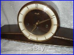 Mid-Century GERMAN KIENZLE Mantle Clock Westminster Chimes + Key Works GREAT