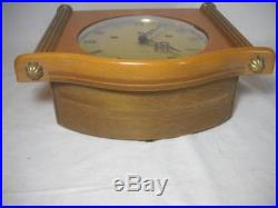 Mid-Century German Mauthe Westminster Chime 8-Day Wall Clock Excellent