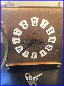 Mid Century Heavy and Ornate Brass Howard Miller Westminster Chime Mantel Clock
