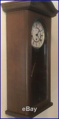 Montreux Key Wind Mechanical Pendulum Westminster Chime Wall Clock Serviced