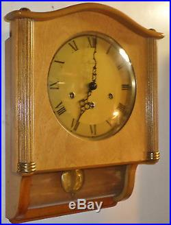 Nice Working Friedrich Mauthe Wood & Glass 8 Day Westminster Chime Wall Clock