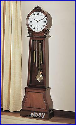 New Chiming Beautiful Brown Finish Battery Powered Grandfather Clock