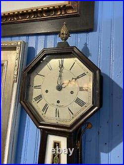 New Haven Clock Co. Octagon Top Westminster Chime Banjo Clock C. 1900