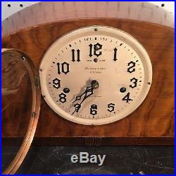 New Haven Orleans Westminster Chime Art Deco Mid Century Mantle Table Clock