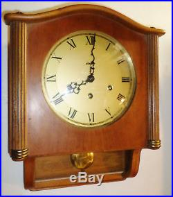 Nice Old Working German Linden Mauthe Westminster Chime 8 Day Wood Wall Clock