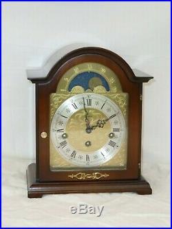Nice Woodford Hermle Walnut Westminster Chime + Moonphase Mantle Bracket Clock