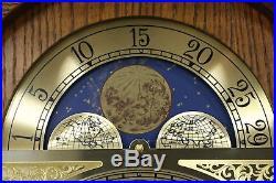 Oak & Burl Long Case Grandfather Clock, Westminster Chime, Howard Miller