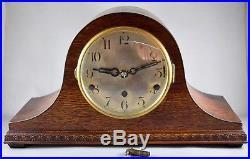 Oak Cased Napoleon Hat Westminster Whittington Chimes Mantel Clock Working