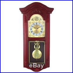 Pendulum Wall Clock European Westminster Hourly Chimes Cherry Wood Decor