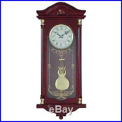 Pendulum Wall Clock Grandfather Hanging Wood Cherry Westminster Chimes Decor