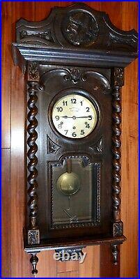 RARE 19 C. Antique Sams Westminster Chime Wall Clock