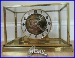 RARE CLOCK antique Style King WESTMINSTER CHIME brass glass ESCAPEMENT mantle