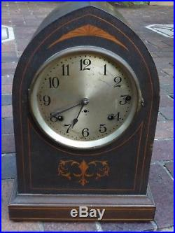 RARE SETH THOMAS SONORA WESTMINSTER CHIME MANTLE CLOCK INLAID WOOD CASE No. 119
