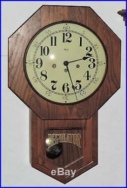 Ridgeway 8 Day Westminster Chime Schoolhouse Wall Clock Regulator Working USA