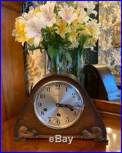 Rare Edwardian Oak cased 8 day Westminster chiming mantle clock by Schatz (Gufa)