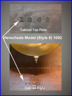 Rare Restored Herschede Model 1002-1918 Antique Hanging Westminster Chimes Clock