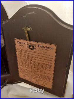 Revere Telechron Westminster Chime Wood Clock Early Electric Motor 59M38 VTG