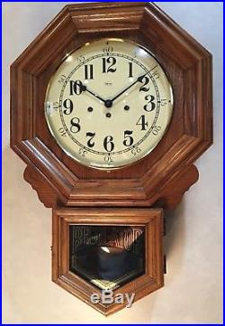 Ridgeway Hermle Westminster Chime Drop Octagon School General Store Wall Clock