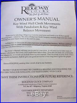 Ridgeway Keywound Grandfather Wall Clock incl Manual & 2 Keys Westminster Chimes