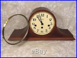 Ridgeway Westminster Chimes Mantel Clock Tambour Case Runs Strikes Chimes