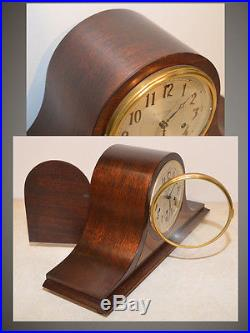 Seth Thomas Chime 56-1934 Antique Westminster Clock In Mahogany & Maple Burl