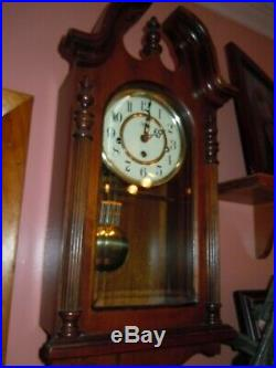 SLIGH WALL CLOCK WESTMINSTER CHIMES MADE BY CHICAGO CLOCK CO. 21H/12With6D INCHES