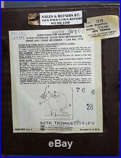 Seth Thomas Moon Dial Clock German Movement 8-day Westminster Chime Wharton 1219