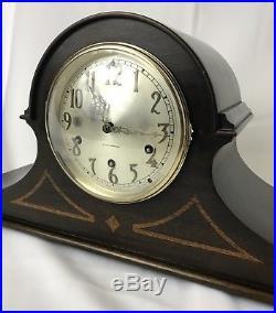 Seth Thomas Westminster Wood Mantel Clock & Key Antique Vtg Chime No 90 Mvmt 124