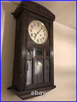 Shabby Chic Vintage Wooden Cased Chiming Wall Mounted Clock With Pendulum & Key