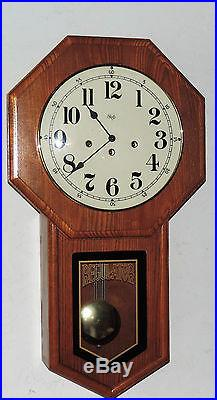 Sligh 8 Day Westminster Chime Schoolhouse Wall Clock Regulator Working Mich USA