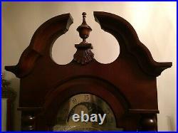Sligh Grandfather Clock, solid hardwood, English chestnut color, good condition