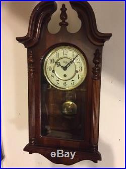 Sligh Westminster Chime wall clock 10-1/2 X21 Inch Tall Works Dark Finish